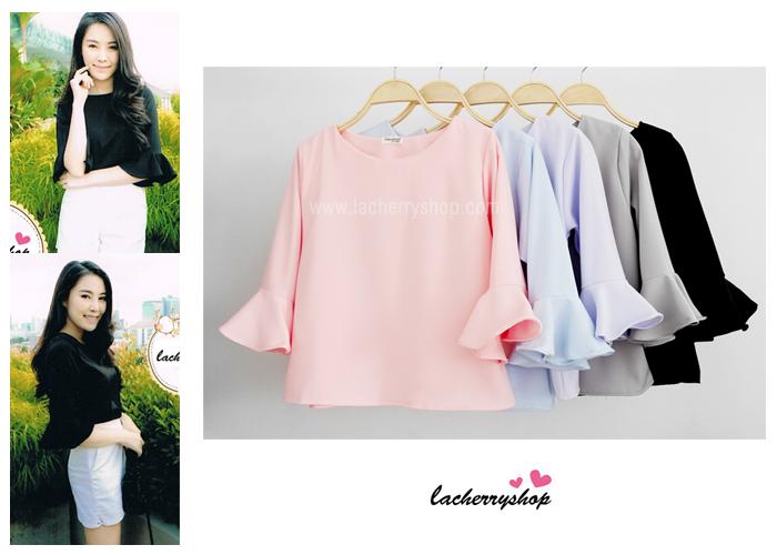 เสื้อแฟชั่น เสื้อทำงาน ผ้าฮานาโกะ สีชมพู แขนกระดิ่งสามส่วน แบบสวยเรียบหรู สินค้าคุณภาพดี