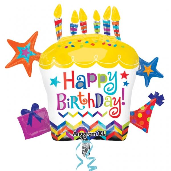 ลูกโป่งฟลอย์นำเข้า Happy Birthday Cupcake Star / Item No. AG-28796 แบรนด์ Anagram ของแท้