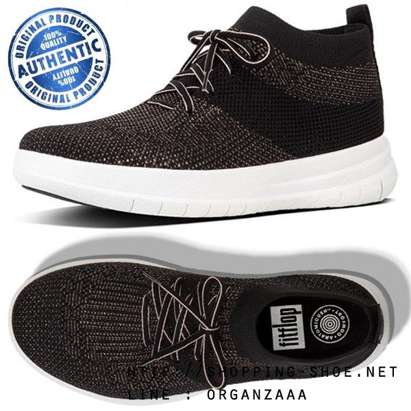 US5 : Fitflop Uberknit Hi Top Sneaker Black / Bronze Metallic ของแท้ นำเข้าจาก USA และ UK