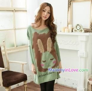 เสื้อคลุมท้องแขนยาว ลายกระต่ายแก้มแดง : สีเขียว รหัส SH072