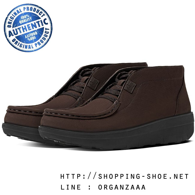 US5 : Fitflop Loaff Lace-Up Ankle Boots Chocolate ของแท้ นำเข้าจาก USA และ UK