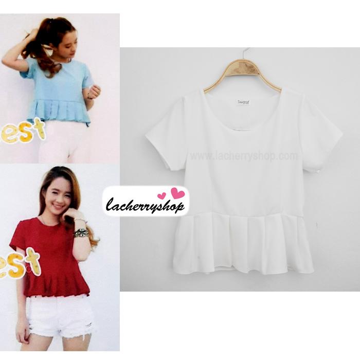 เสื้อแฟชั่น เสื้อทำงาน ผ้าฮานาโกะ สีขาว แต่งระบายเอว แบบสวยเรียบหรู สินค้าคุณภาพดี ราคาย่อมเยา