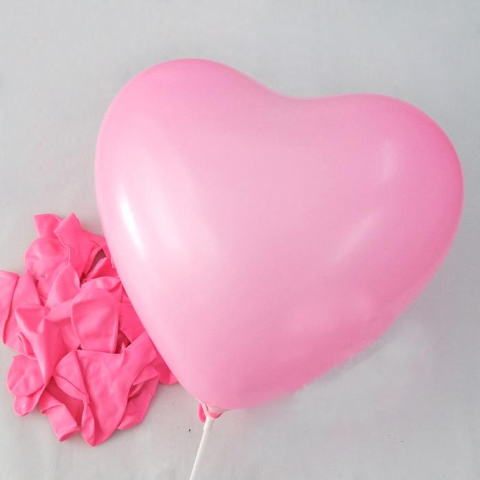 """ลูกโป่งหัวใจ เนื้อสแตนดาร์ทสีชมพู ไซส์ 12 นิ้ว แพ็คละ 10 ใบ (Heart Latex Balloon - Pink Color 12"""")"""