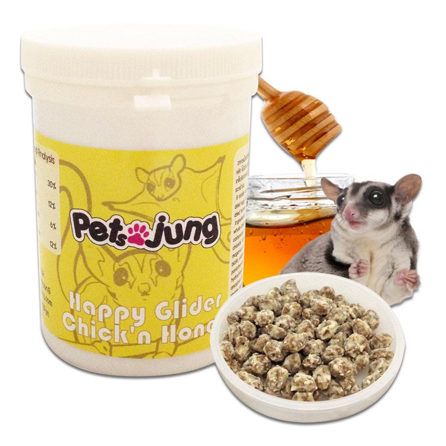 PetsJunG - Happy Glider (Chick'n Honey) อาหารเม็ด ชูการ์ไกลเดอร์ รสไก่น้ำผึ้ง (100/500g.)