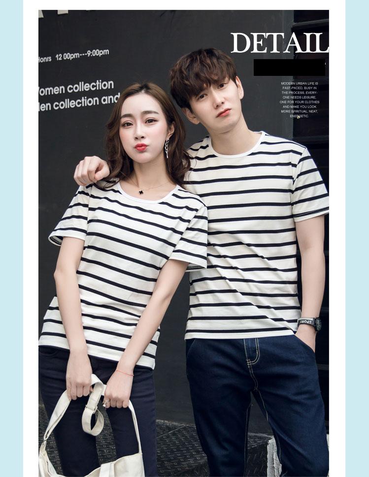 +พร้อมส่ง+ เสื้อคู่รักเกาหลี แฟชั่นคู่รัก ชายหญิง เสื้อยืดคอกลม ลายริ้ว สีดำสลับขาว
