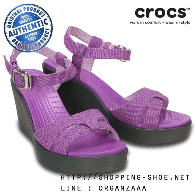 W7 (24 cm.) : Crocs Women's Leigh Sandal Wedge - Wild Orchid / Charcoal ของแท้ Outlet ไทยและอเมริกา