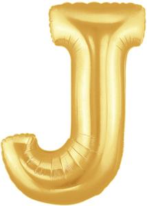 """ลูกโป่งฟลอย์รูปตัวอักษร J สีทอง ไซส์จัมโบ้ 40 นิ้ว - J Letter Shape Foil Balloon Size 40"""" Gold Color"""