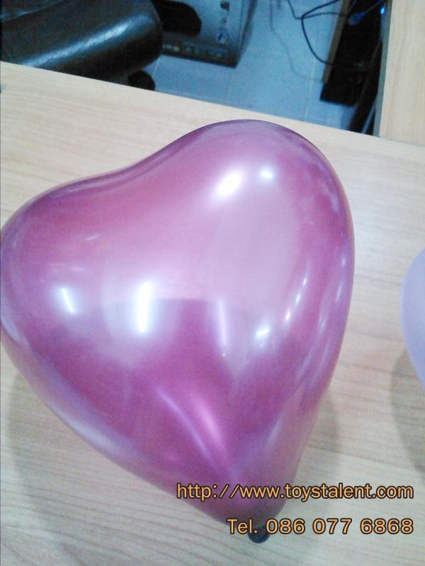 ลูกโป่งหัวใจ เนื้อเมททาลิก สีแดงเข้ม ไซส์ 6 นิ้ว แพ็คละ 10 ใบ