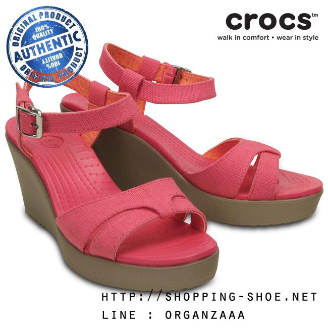 W7 (24 cm.) : Crocs Women's Leigh Sandal Wedge - Poppy / Mushroom ของแท้ Outlet ไทยและอเมริกา