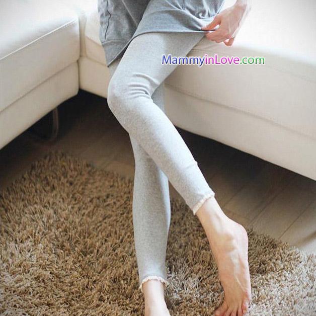 กางเกงคลุมท้องผ้าคอตตอนขายาว ขอบลายลูกไม้ : สีเทา รหัส PN107