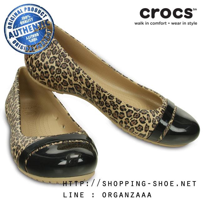 W6 (23 cm.) : Crocs Cap Toe Leopard Print Flat - Black / Gold ของแท้ Outlet ไทยและอเมริกา