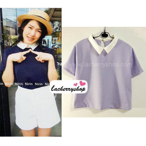 เสื้อแฟชั่น เสื้อทำงาน ผ้าฮานาโกะ สีม่วง พาสเทล สดใส คอปกเก๋ๆ แบบยอดนิยม สินค้าคุณภาพ ราคาไม่แพง