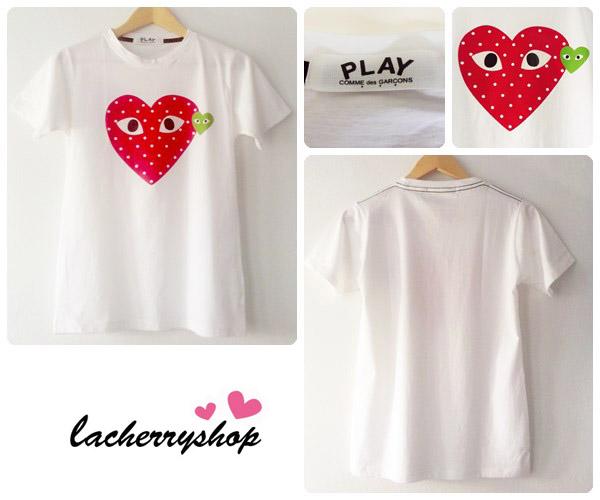 (หมดจ้า) เสื้อยืด เสื้อสกรีน เสื้อแฟชั่น สีขาว play comme des garcons สุดฮิป หัวใจสีแดงสวยๆ ปักป้ายชื่อ เนื้อผ้าดีค่ะ