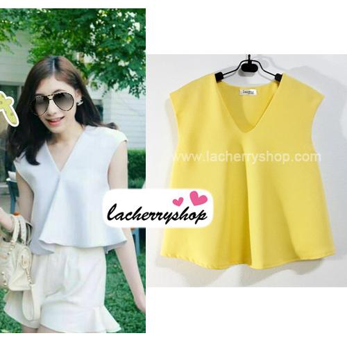 เสื้อแฟชั่นผ้าฮานาโกะ เสื้อทำงาน สีเหลือง คอวี ชายเสื้อพริ้ว สวยหวาน สินค้าคุณภาพ ราคาไม่แพง