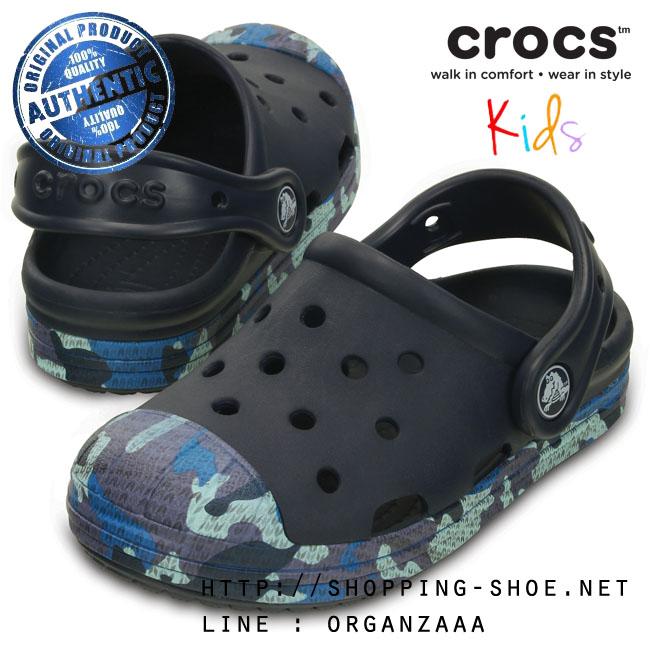 C10 (17.5 cm.) : Crocs Bump It Camo Clog - Navy ของแท้ Outlet ไทยและอเมริกา