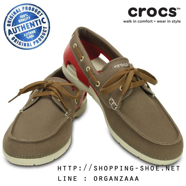 M7 (26 cm.) : Crocs Beach Line Lace-up Boat Shoe - Walnut / Stucco ของแท้ Outlet ไทยและอเมริกา