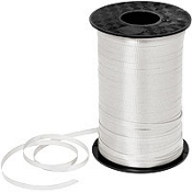 ริบบิ้นม้วนใหญ่ สีขาว สำหรับผูกลูกโป่ง ยาว 350 เมตร - White Curling Ribbon