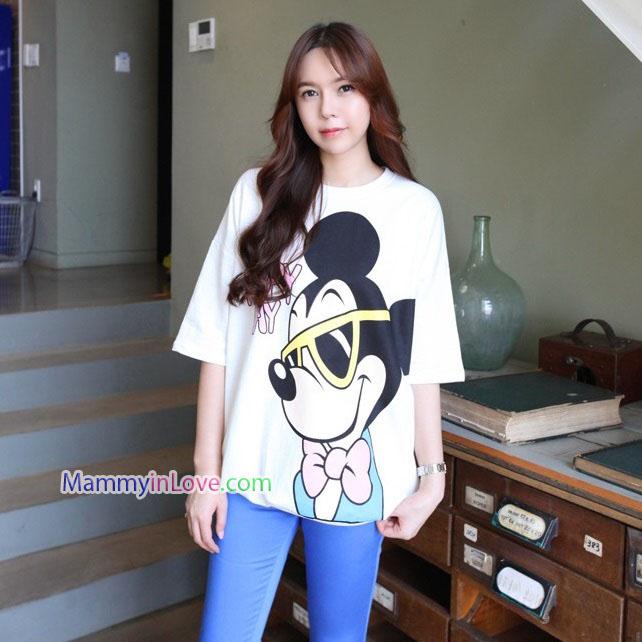 เสื้อคลุมท้องแขนสั้น ลาย Mickey Mouse ใส่แว่น : สีขาว รหัส SH215