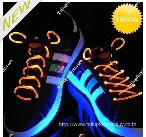 เชือกผูกรองเท้าไฟกระพริบ LED สีเหลือง รหัส LD004