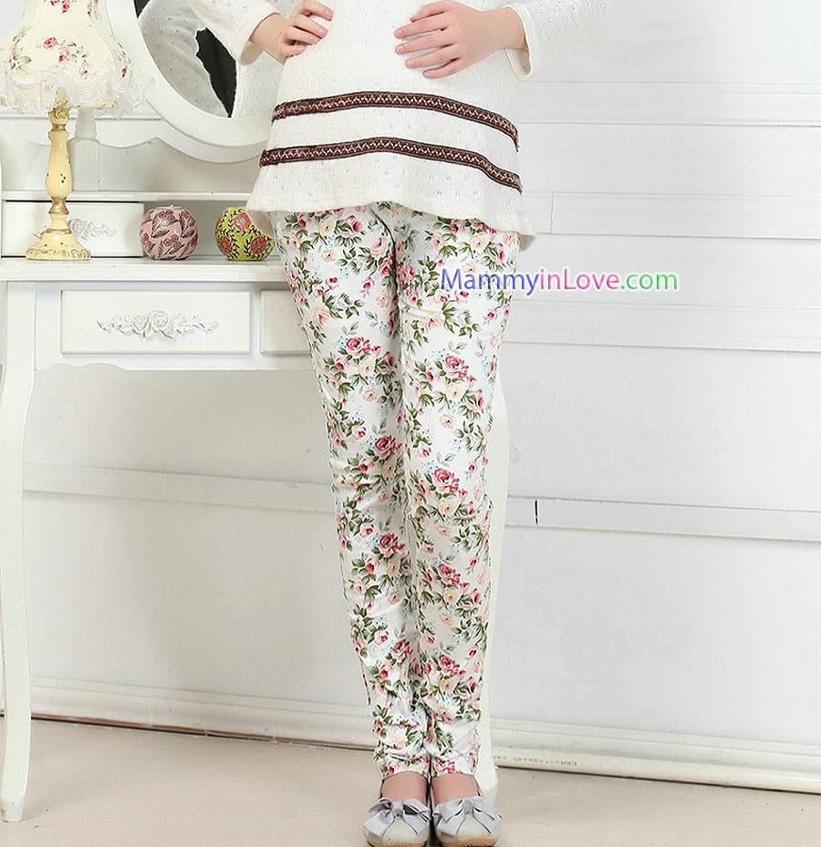 กางเกงขายาวผ้าคอตตอน ลายดอกไม้ สีขาว : SIZE XXL รหัส PN176