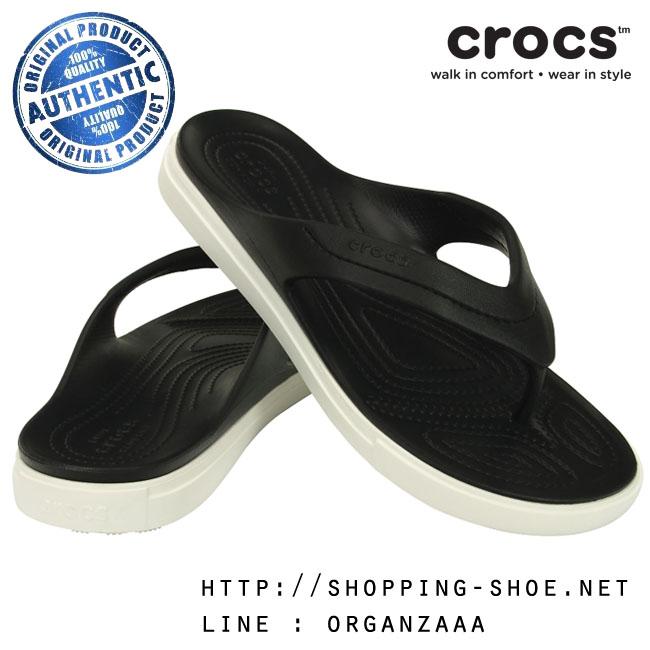 M5/W7 (25 cm.) : Crocs CitiLane Flip - Black / White ของแท้ Outlet ไทยและอเมริกา