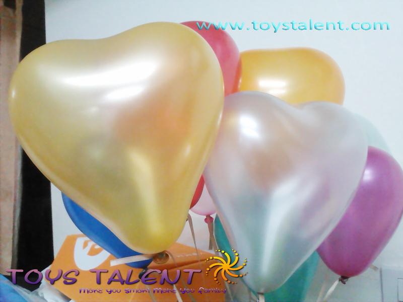 ลูกโป่งหัวใจ เนื้อเมททัลลิค สีทอง ไซส์ 6 นิ้ว แพ็คละ 10 ใบ