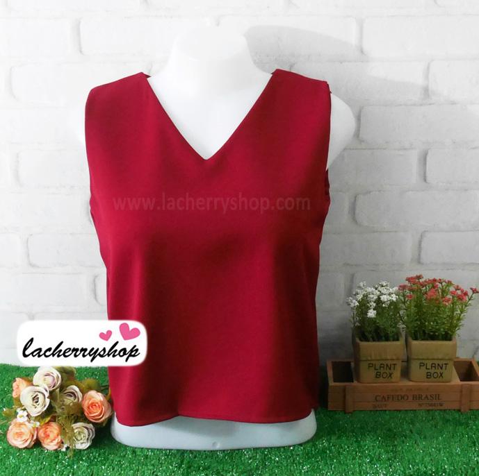 เสื้อผ้าแฟชั่นสวยๆ คอวี แขนกุด สีแดงเลือดหมู ดีไซน์แต่งผ้าไขว้เปิดหลังเก๋ๆ ผ้าฮานาโกะ แบบสวยเรียบหรูดูดีมากค่า