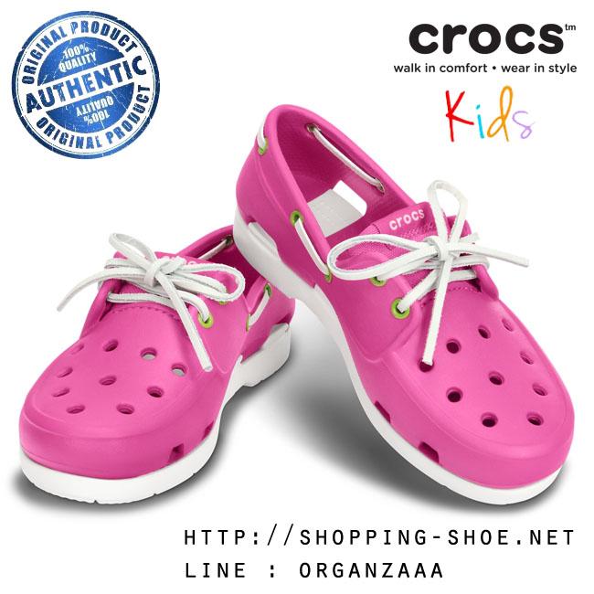 J5 (24 cm.) : Crocs Kids Beach Line Boat Shoe - Fuchsia / White ของแท้ Outlet ไทยและอเมริกา