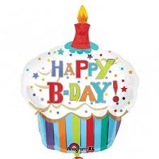 ลูกโป่งฟลอย์นำเข้า Happy Birth Day Striped Cupcake / Item No. AG-24477 แบรนด์ Anagram ของแท้