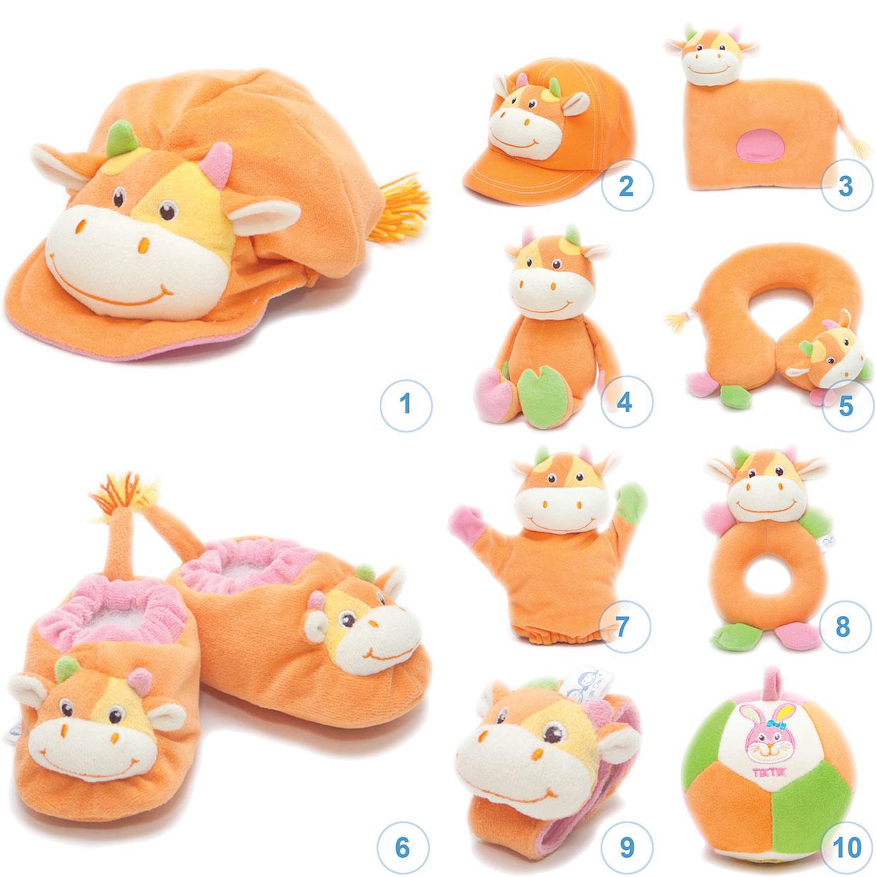 ของเล่นเสริมพัฒนาการ Gift set ชุดของขวัญ สำหรับเด็กอ่อน Set น้องวัว สีส้ม (ส่งฟรี)