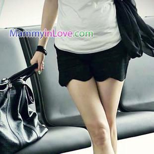 กางเกงคลุมท้องขาสั้นทรงขอบโค้งเว้า สีดำ : Size M รหัส PN033