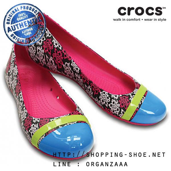 W7 (24 cm.) : Crocs Cap Toe MONDO Roses Flat - Candy Pink ของแท้ Outlet ไทยและอเมริกา