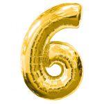 """ลูกโป่งฟอยล์รูปตัวเลข 6 สีทอง ไซส์เล็ก 14 นิ้ว - Number 6 Shape Foil Balloon Size 14"""" Gold Color"""