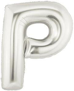 """ลูกโป่งฟลอย์รูปตัวอักษร P สีเงิน ไซส์จัมโบ้ 40 นิ้ว - P Letter Shape Foil Balloon Size 40"""" Silver Color"""