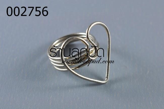 โครงแหวนลวด หัวใจ โรเดียม (1วง)