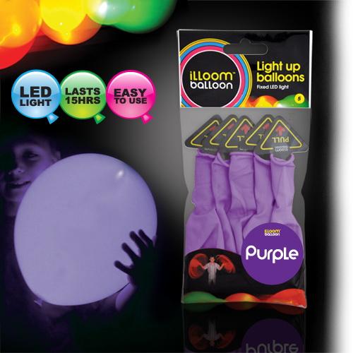 ลูกโป่ง LED สีม่วง แพ็ค 5 ชิ้น ไฟสว่างเหมือนโคมไฟ (LED Purple Balloon - LED Fixed Mode)