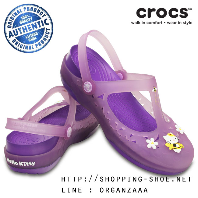 W6 (23 cm.) : Crocs Carlie Hello Kitty Flower Mary Jane - Iris / Neon Purple ของแท้ Outlet ไทยและอเมริกา