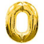 """ลูกโป่งฟอยล์รูปตัวเลข 0 สีทองไซส์เล็ก 14 นิ้ว - Number 0 Shape Foil Balloon Size 14"""" Gold Color"""