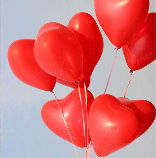 """ลูกโป่งหัวใจ เนื้อสแตนดาร์ทสีแดง ไซส์ 12 นิ้ว แพ็คละ 10 ใบ (Heart Latex Balloon - Red Color 12"""")"""