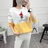 เสื้อแขนยาวแฟชั่นพร้อมส่งเสื้อแขนยาวแต่งสีขาวสลับเหลือง แต่งสกรีนลายตุ๊กตาน่ารัก Good Night +พร้อมส่ง+