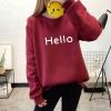 เสื้อแขนยาวแฟชั่นพร้อมส่ง เสื้อแขนยาวสีแดง แต่งสกรีนตัวอักษร Hello +พร้อมส่ง+