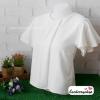 เสื้อผ้าแฟชั่น เสื้อทำงาน ผ้าฮานาโกะ สีขาว แบบสวยเรียบหรู แต่งระบายแขนสวยพริ้ว แบบสวยเรียบร้อย เหมาะกับทุกโอกาส