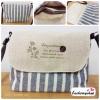 (หมดจ้า) กระเป๋าผ้า แฮนด์เมด ญี่ปุ่น ลายทาง สีเทา วินเทจ สายหนังสะพายไหล่ สวยเก๋ (ขายปลีก 200,ขายส่ง 3 ชิ้นๆละ 150 บาท คละได้ทุกแบบ)