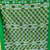 ผ้าปักมือ พื้นสีเขียว โทนเหลืองแดง(1คู่)