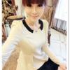 หมดค่ะ SALE//SALE (ส่งฟรี) เสื้อแฟชั่นเกาหลี คัตติ้งสวยเนียบเข้ารูป สีขาว มีซิปด้านหลังใส่ง่าย เนื้อผ้าหนานุ่ม แต่งคอปกสีดำเก๋ๆ
