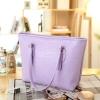 กระเป๋าแฟชั่น สีม่วง สะพายไหล่ ลายหนังจระเข้ เรียบหรู มีซิปเปิดปิด ใส่ของได้เยอะ ((โปรโมชั่นส่งฟรี))