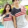 ชุดคู่รัก เสื้อคู่รักเกาหลี เสื้อผ้าแฟชั่น ชายเสื้อยืด +เดรสเอวยืด ลายธงชาติเมกา +พร้อมส่ง+