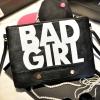 กระเป๋าแฟชั่น BAD GIRL สีดำ หนัง PU ใส่ IPAD ได้ มีสายสะพาย ((โปรโมชั่นส่งฟรี))