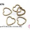 พวงกุญแจหัวใจ สีทองเหลือง 31X31มิล (5ชิ้น)