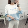เสื้อแขนยาวแฟชั่นพร้อมส่ง เสื้อแขนยาวแต่งสีขาวสลับฟ้า แต่งสกรีนตัวอักษร +พร้อมส่ง+